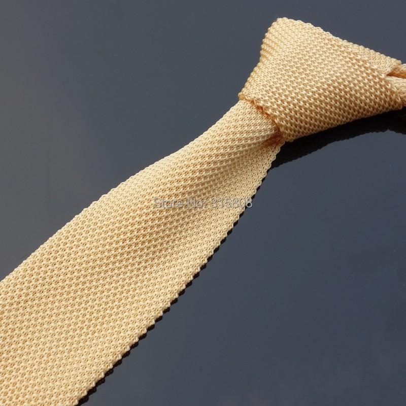 fafb54d0217e6 Ikepeibao Jaune Beige Maigre Tricoté Cravates Rayé Polyester Cravate  Étroite Slim Cravate Hommes Rayé Cravate Plat Tête dans Liens et Mouchoirs  de Vêtements ...