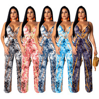 5 Color Tie Dye Printed High Waist Straight Long Jumpsuits Summer Woman Spaghetti Strap V Neck Sleeveless Rompers SF9255