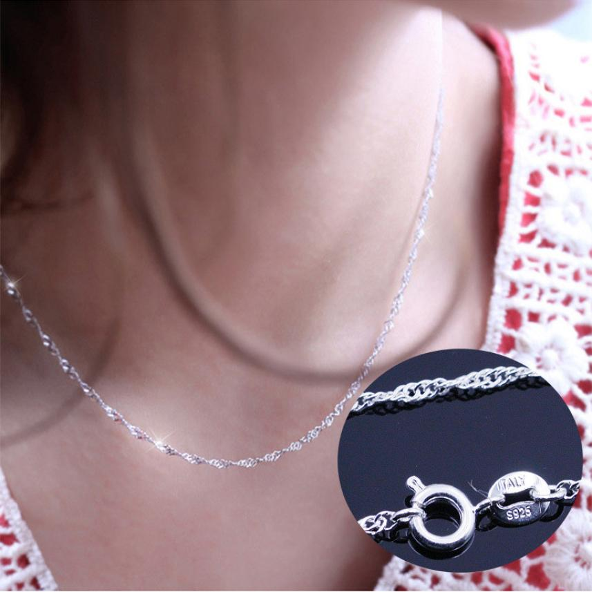 Necklace Female Jewelry-Accessories Wave-Chain Silver Top Pendientes Vintage High-End