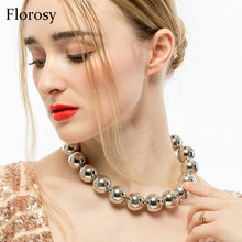 sexy statement big bead ball choker necklace for women 2018 new arrival fashion chunky metal maxi alloy necklace for girls