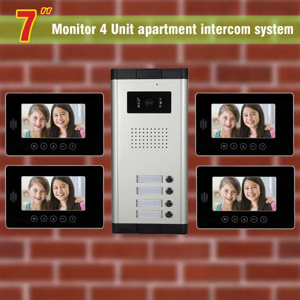 2016 New 4 units apartment intercom system video intercom for apartment video door phone home intercom system video doorbell