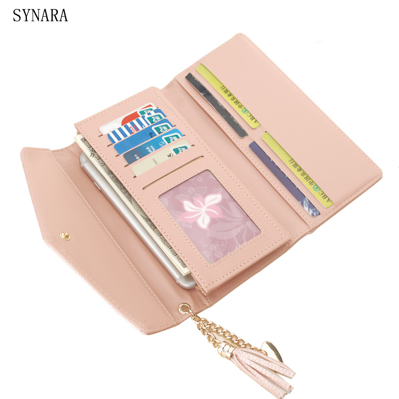 Hot New Fashion Envelope Women Wallet Tassel PU Leather Wallet Long Purse Coin Pocket Card Holder yuanyu free shipping 2017 hot new women bag real women clutches pearl fish skin wallet long fashion leisure women wallet purse