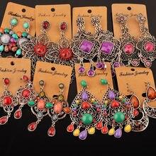 Женские богемные длинные серьги Bohe Boucle, сережки в этническом стиле с цветочными подвесками, 20 пар в партии, оптовая продажа