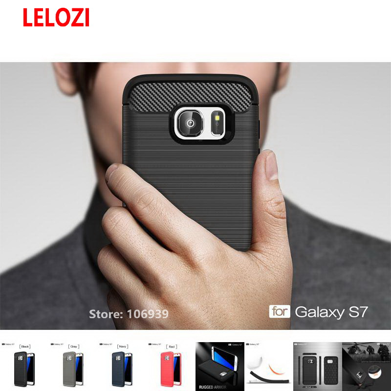 LELOZI Soft TPU Silicone Back Armor Rugged Carbon Fiber Brushed Men Phone Coque Etui Case For Samsung Galaxy S7 Sport Gray