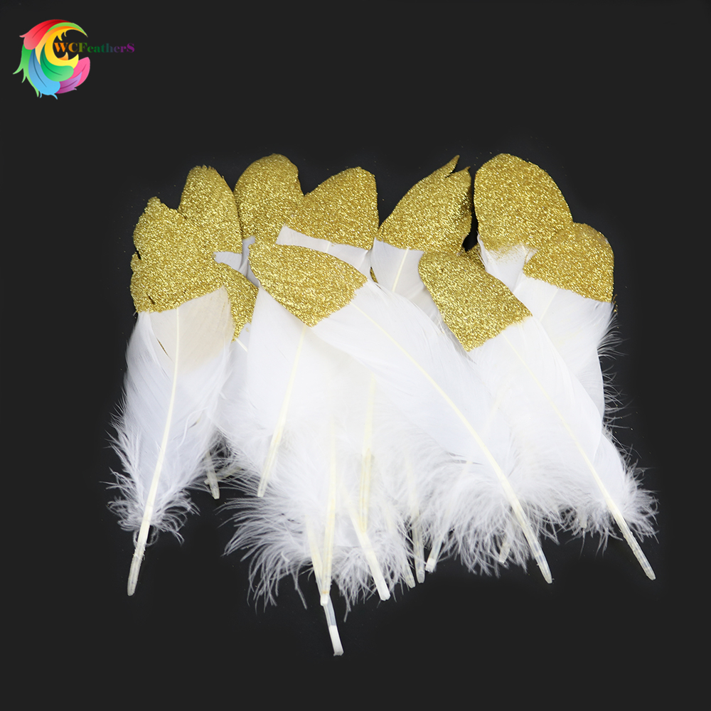 12pcs Gold Dipped Natural goose feather for Crafts Hats Embellishments plumes DIY Decor Feathers, Wedding Feather Decoration