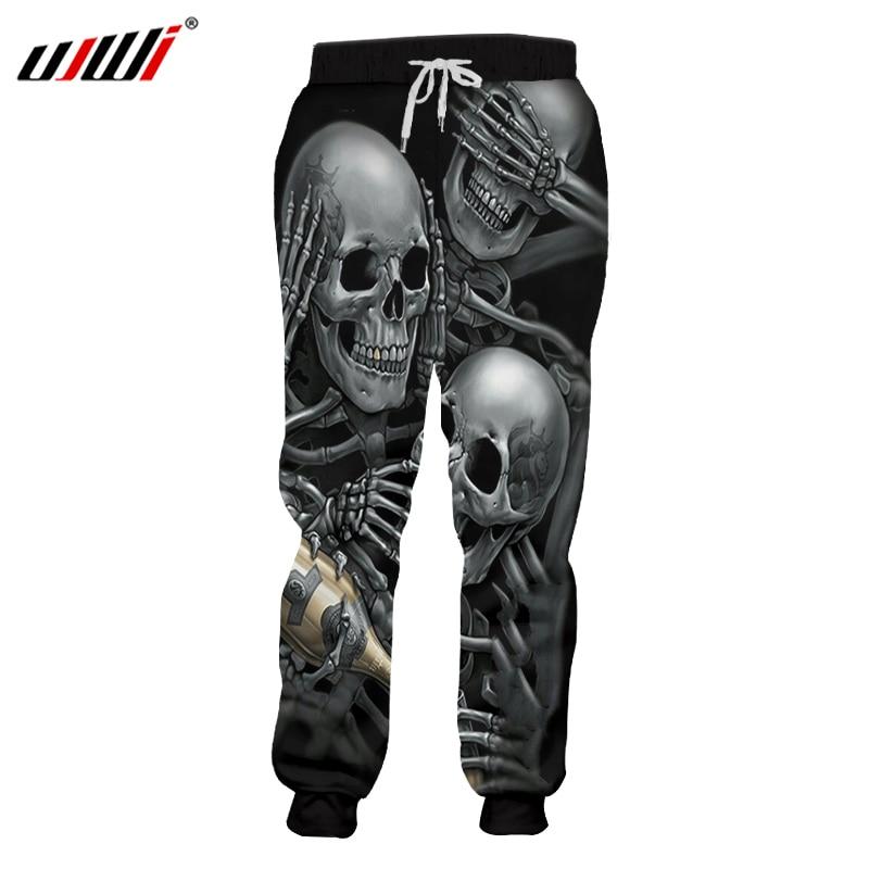 UJWI Men Sweat Pants Cool Print Skeleton Skull Champagne 3D Harem Joggers Pants Hombre Elastic Waist Full Length Sweatpants 5XL