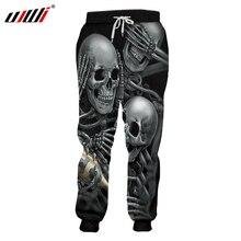 UJWI Men Sweat Pants Cool Print Skeleton Skull Champagne 3D Harem Joggers Hombre Elastic Waist Full Length Sweatpants 5XL