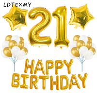 21st BIRTHDAY DECORATIONS PARTY Happy Birthday Letter Foil Balloon Banner Number 21 Balloon Mylar Star Gold
