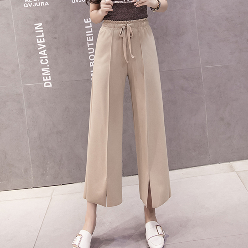 Women   Pants   2019 Spring Summer Fashion Female Casual Loose Solid Split Elasitc Waist Elegant   Wide     Leg     Pant   Office Lady Trousers