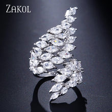 ZAKOL Luxury Zircon ปีกแหวนแฟชั่น Marquise CUT Cubic Zirconia (China)