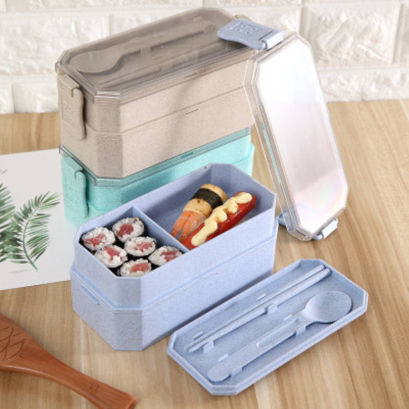 Lunch Box For Kids Double Layer Bento Box Microwavable Heating Food Storage Container School Portable Plastic Lunchbox BPA Free