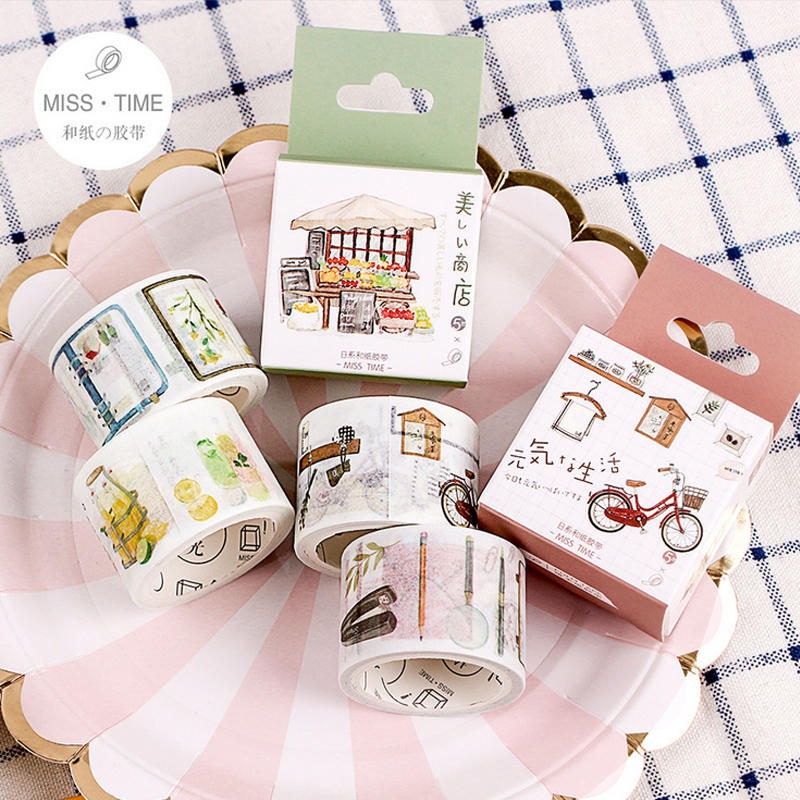 3cm*5m Cute Japanese style washi tape DIY decoration scrapbooking planner masking tape adhesive tape 45mm wide cartoon character time boy decoration washi tape diy planner scrapbooking masking tape escolar