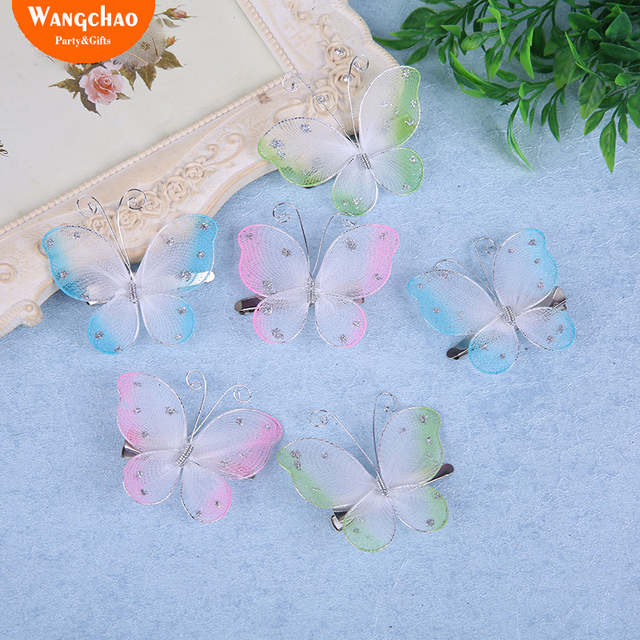 12pcslot 55cm Glitter Nylon Butterfly Decoration Clips Butterflies