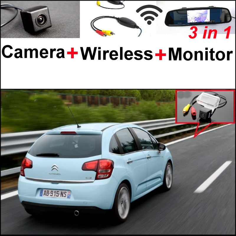 For Citroen C3 2002 2014 3 in1 Special Rear View Camera Wireless Receiver Mirror Monitor Easy