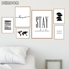 Nordic Minimalist Wall Art Stay Awhile Sign Posters Inhale Exhale Canvas Prints Painting Black White Picture Decoration