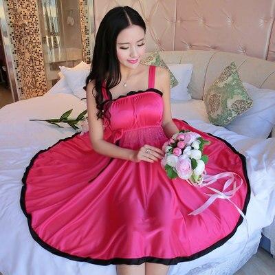 Ladies Sexy Silk Satin Night Dress Sleeveless Nighties V-neck Nightgown Plus Size Nightdress Lace Sleepwear Nightwear For Women 1