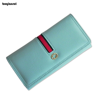 European And American Style Women Wallets Long PU Leather Wallet Female Patchwork Clutch Coin Purse Ladies