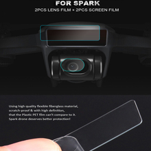 4pcs/Set Spark Lens Protective Film Drone Body Screen Flexible Fiberglass Camera Membrane For DJI