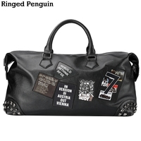 Ringed Penguin 2018 Personality Large Size Cool Rivet Leather Mens Travel Bag Fashion Rolling Travel Bag
