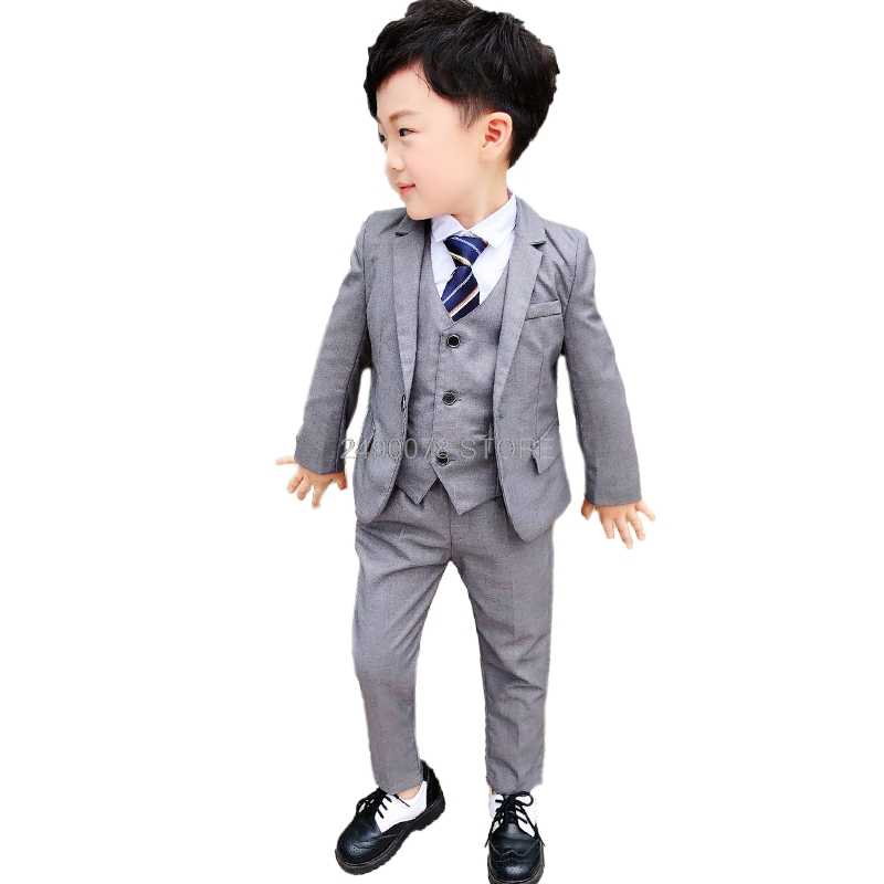 Коллекция 2019 года, костюмы джентльмена на свадьбу для мальчиков, подарок на день рождения, костюм с платьем для мальчиков блейзер + жилет + штаны, комплекты одежды из 3 предметов Детский костюм
