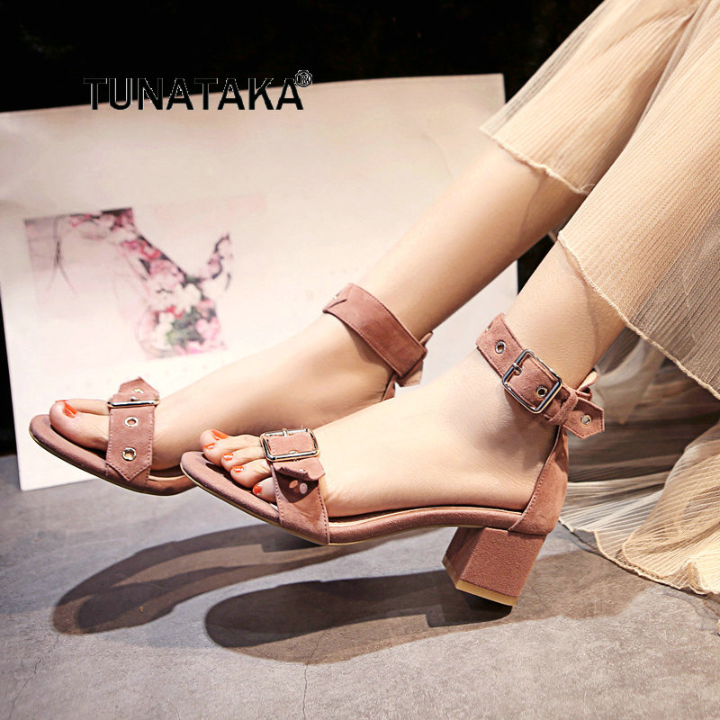 Summer Open Toe Women Suede Buckle Strap Sandals Comfortable Thick Heel Party Dress Shoes Pink Beige Black summer open toe women suede buckle strap sandals comfortable thick heel party the new dress shoes pink beige black
