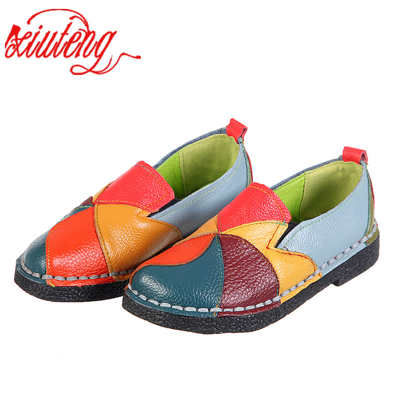 Xiuteng 2018 Women Loafers Patches stitching Flat Shoes Woman Summer Flats Soft Candy colors Genuine Leather Moccasins Loafers(China)