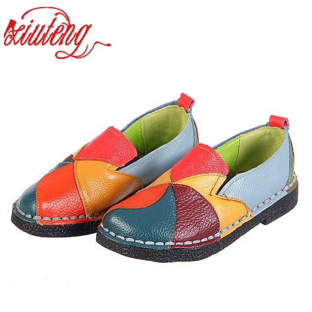 Xiuteng 2018 Kadın Loafer'lar Yamalar dikiş düz ayakkabı Kadın Yaz Flats Yumuşak Şeker renk Hakiki Deri Moccasins Loafer'lar