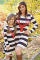 deer chirstmas new Mother Daughter Dresses Fashion Long Sleeve Striped Look Matching Cotton Mom Daughter Dress Family Clothing
