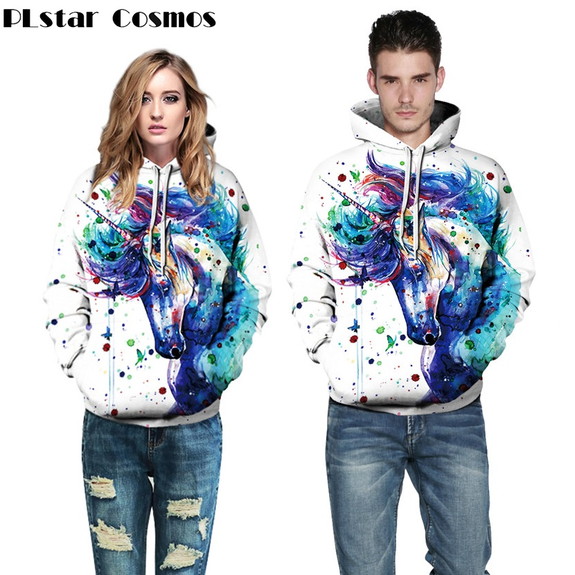 PLstar Cosmos 3D Printed Cartoon Animal Paint Unicorn Hoodies Women/Men Casual Hoodie Hooded Sweatshirts Autumn Pullovers
