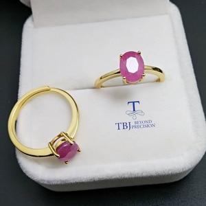 Image 4 - TBJ,100% naturalny prawdziwy rubinowy kamień pierścień w 925 sterling silver yellow gold fine kolor biżuterii dla kobiet z szkatułce