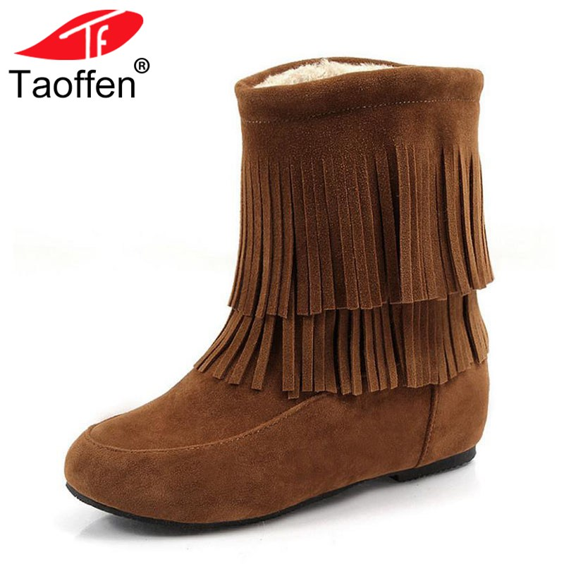 Taoffen Women Plush Flats Boots Fringes Inside Fur Round Toe Winter Shoes Women Mid Calf Snow Boots Party Shoes Size 33-45 big size new fashion women boots slip on mid calf flats shoes round toe winter snow boots solid plush soft leather shoes woman