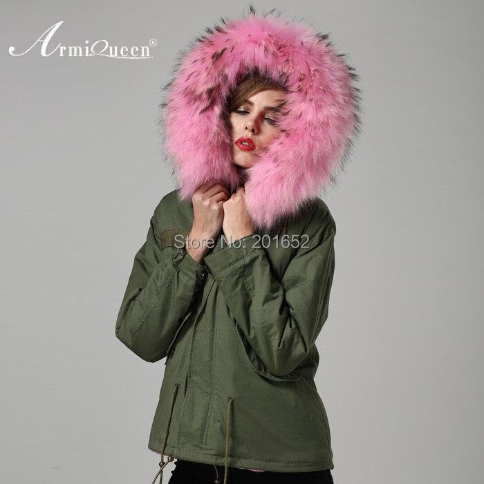 groene jas roze bontkraag