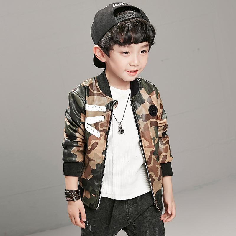 Kids Autumn Camouflage Flight Jacket 2017 New Pu Leather Jacket ...