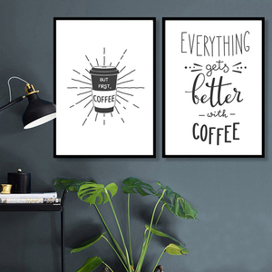 Image 3 - Coffee is Always a Good Idea Kitchen Wall Art Canvas Painting Nordic Black and White Poster for Home Decor Pictures Unframed
