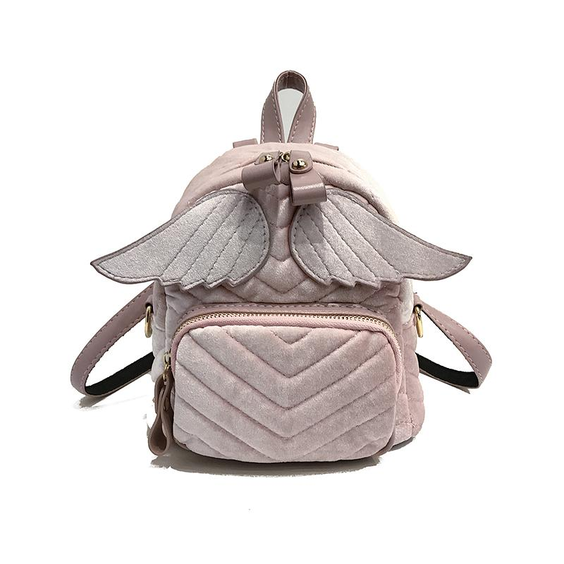 2018 New Brand School Bag Velour Wing Small Backpack Lady Fashion Cute Travel Backpacks  ...