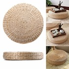 Mayitr Hand Weave Thick Cushion Handmade Round Straw Mat Yoga Chair Seat Mat Meditation Tatami Cushion 40cm