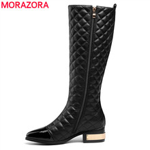 MORAZORA בתוספת גודל 34 45 חם 2020 חדש באיכות גבוהה הברך גבוהה מגפי סתיו חורף אופנה עור מגפי נשים אופנוע מגפיים