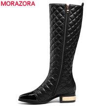 MORAZORA artı boyutu 34 45 sıcak 2020 yeni yüksek kaliteli diz yüksek çizmeler sonbahar kış moda deri çizmeler kadın motosiklet botları