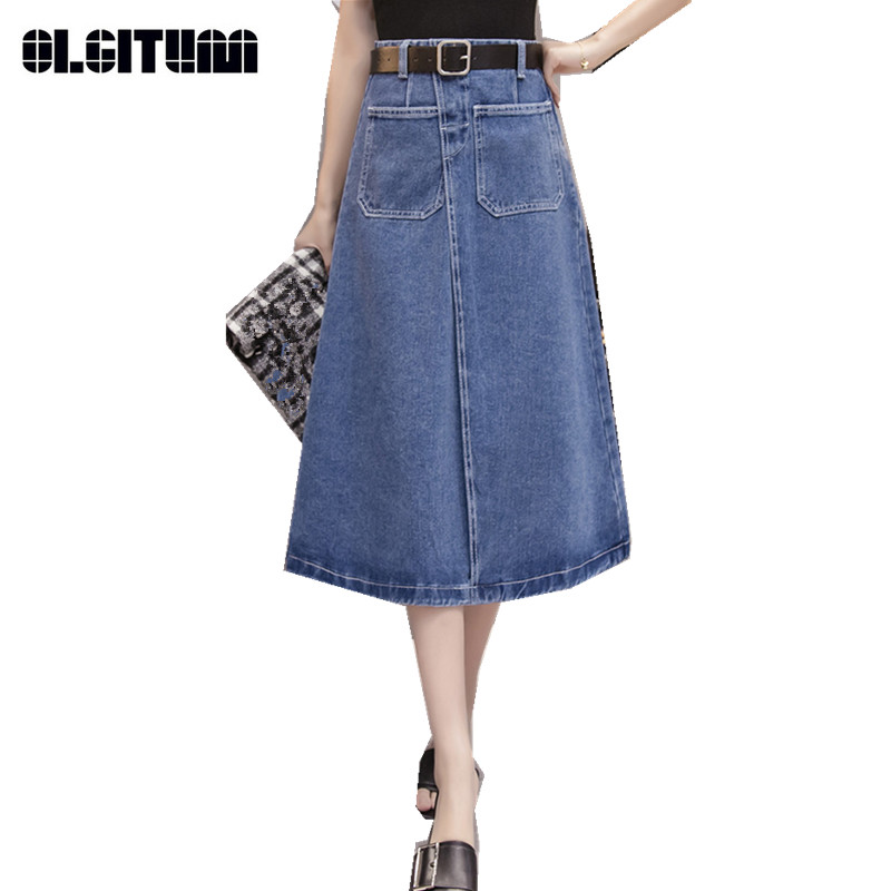 Womens Denim Skirt High Waist Skirts with Big Pocket Female Mid-long Wild Personality Sk ...