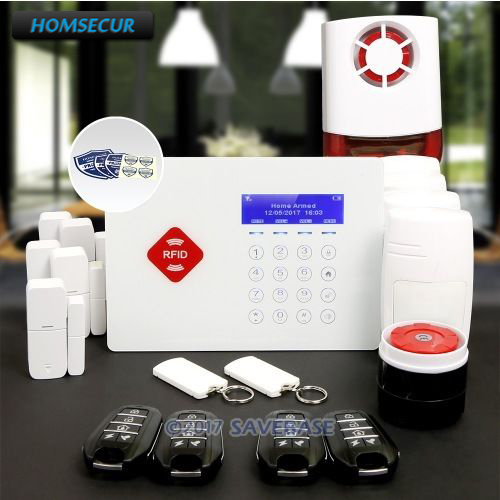HOMSECUR 850/900/1800/1900MH App Controlled Wireless GSM RFID Home House Pet-Immune/Friendly Alarm System With Touch Keypad smart android ios app controlled home alarm system touch keypad wifi gsm alarm system with pet immune motion detector siren horn