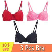 Maidy 3Pcs/Pack Sexy Lace Bras 3/4 Cup Push up Bra For Women Underwear Brassiere Female Lingerie Demi Style Size 36-38-40 A-B