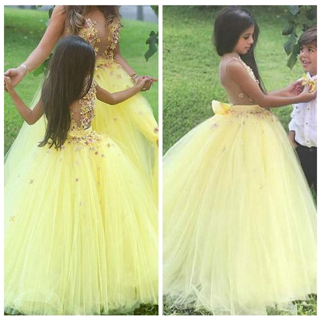 New Arrival Stunning Yellow Ball Gown Flower Girl Dresses for ...