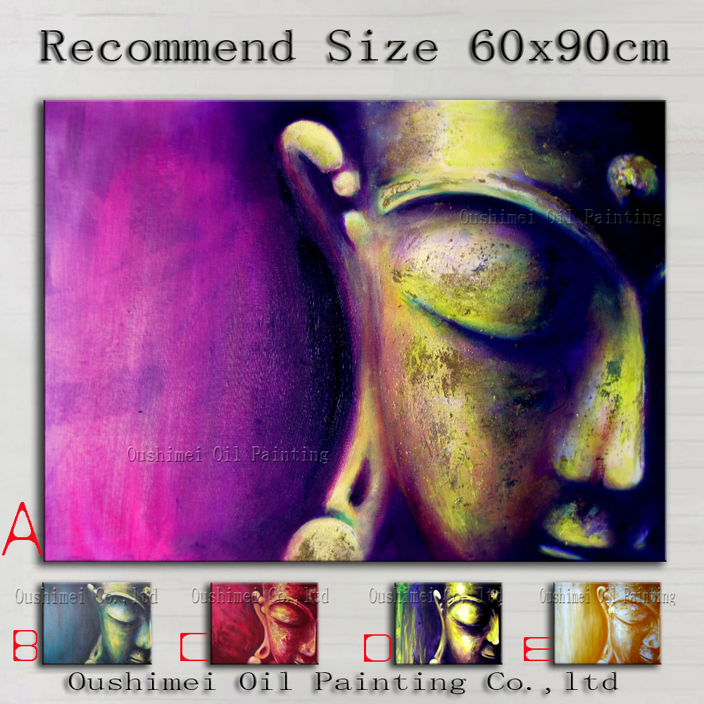 Hand Painted Oil Painting Hang Wall Paintings Modern Buddha Paintings Religious Canvas Painting For Living Room Handmade Picture(China (Mainland))