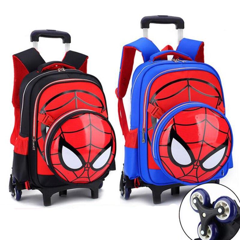 ФОТО Children school bag backpack Spiderman drawbars schoolbags backpacks with wheels trolley bag removable pressure reduction
