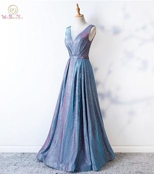 3ecb9c94cef Шикарное платье для выпускного вечера es Sheer шеи Голубой линии Длинные  Хрустальные Вечерние платья Вечернее платье vestido de graduacion блеск  платье .