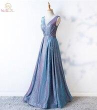 Блестящее бальное платье для выпускного вечера, прозрачный светильник, синее ТРАПЕЦИЕВИДНОЕ длинное вечернее платье с кристаллами, бальное платье для выпускного вечера
