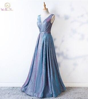 Bling Prom Dresses Sheer Neck Light Blue A-line Long Crystal Evening Gowns Formal vestido de graduacion Glitter Dress robes