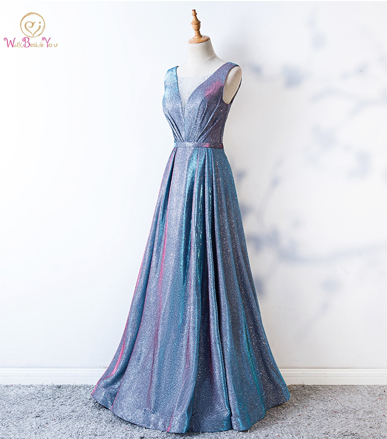 Bling   Prom     Dresses   Sheer Neck Light Blue A-line Long Crystal Evening Gowns Formal vestido de graduacion Glitter   Prom     Dress   robes