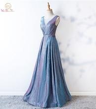 Robe de bal à paillettes, ligne a, col transparent, robe longue, cristaux, robes doccasion, bleu clair, robes doccasion