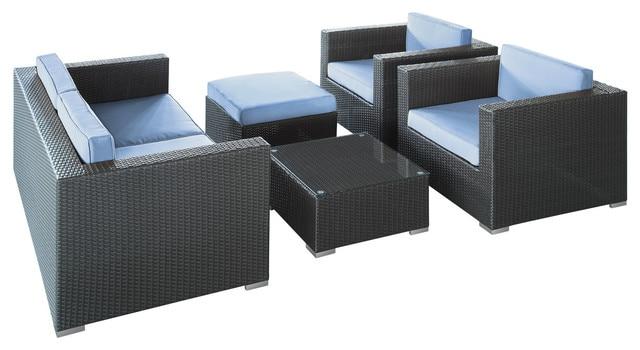 2017 All Weather Outdoor Rattan Furniture 5 Piece Sofa Set